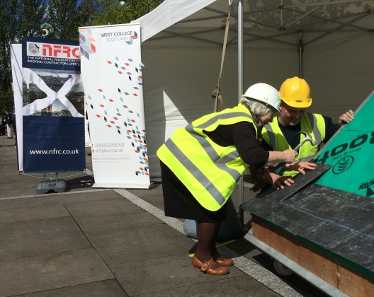 Sandra White MSP fixing a slate